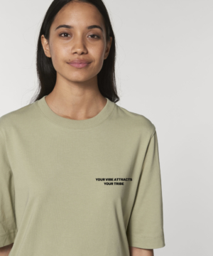 Your Vibe Attracts Your Tribe Sage Green Women's Boxy T-Shirt